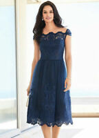 Blue Off The Shoulder Bardot Prom Style, Full Skirt Ocassion Dress size 12