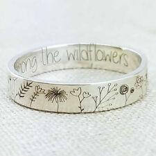 925 Silber Handarbeit geschnitzt Blumen Pflanze Ring Frauen Hochzeit Schmuck Grö...
