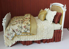 Dollhouse miniatures: gorgeous 1:12 scale dressed toile bed by Lorraine Scuderi