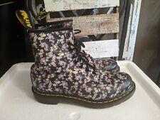 Dr. Martens Air Wair Black Floral Leather Boots Sz. 8 US 39 EU