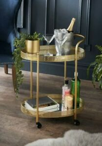 Deco Glamour Drinks Trolley in Gold with 2 Mirrored Shelves Art Deco Dining New