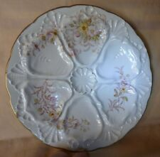Antique pre 1891 6 Hole OYSTER Plate Delicate Florals Gilt Trim Unmarked