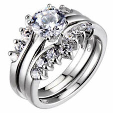Cubic Zirconia Sterling Silver Engagement & Band Ring Sets