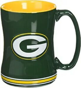 Green Bay Packers 14 oz Team Color Sculpted Logo Relief Coffee Mug  - NEW