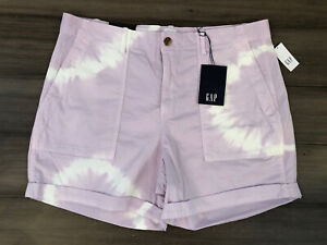 "GAP NWT Women's Purple Tie Dye Cuffed Cotton 5"" High Rise Khaki Shorts-Size 14"