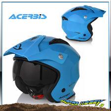 Casco Jet Moto Trial Acerbis aria colore Azzurro visierino Parasole Taglia L