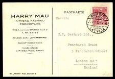 Latvia Riga Harry Mau to England 1937 Postal Card