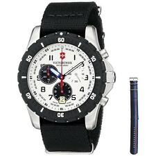 VICTORINOX MEN'S 43MM BLACK NYLON BAND STEEL CASE SWISS QUARTZ WATCH 241680.1