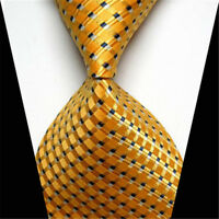 Men's Classic Gold Black Striped Tie Jacquard Woven Silk Suits Ties Necktie New