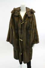 NEW FENDI Brown Hooded Mink Fur Reversible Coat Sz 40