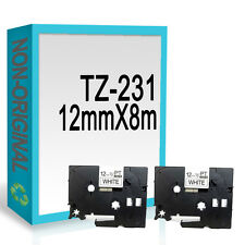 2 Compatible For Brother TZ231/TZe231 P-Touch 12mmx8m Black On White Label Tape