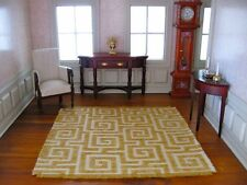 dollhouse doll house miniature WOVEN RUG CARPET ACCENT GOLD WHITE RETRO