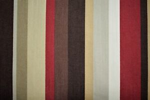 100% Cotton Canvas Duck Red Brown Striped Upholstery Drapery Print Fabric