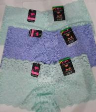 3 Maidenform Boyshort Panty Set Sheer Flower Lace Cheeky Blue Green 7 L NWT