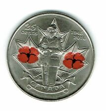 2010 Canadian Brilliant Uncirculated Commemorative Colored Poppy 25C Coin!