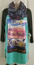 Women's SELF ESTEEM 'Good Things Are On The Horizon' Tunic w/Infinity Scarf Sz M
