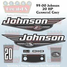 1999-00 Johnson 20 HP Gunmetal Grey Outboard Reproduction 9Pc Marine Vinyl Decal