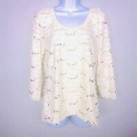 Travel Elements Womens Top sz M Ivory Sequence Gold Stretch Casual Career MW30