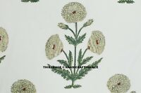 Flores Blancas Manualidades Material Mano Bloque Impreso Algodón Gasa Tela Coser