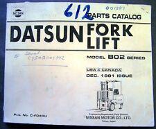 Datsun Model B02 Fork Lift Truck Parts Book Manual