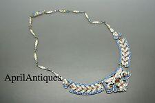 Vintage art deco blue red rhinestones feather flower shape necklace