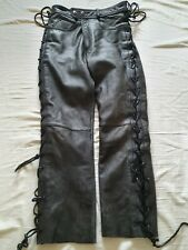Heavy Duty Mens Leather Biker Jeans 32W 33L by Moto Lace Up Sides Gay Interest