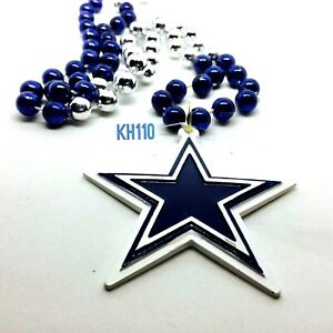 Dallas Cowboys NFL Mardi Gras Beads With Medallion Necklace
