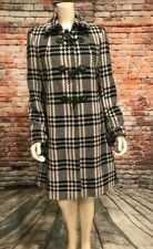 Lands' End Size 10T Tweed Wool Houndstooth Pea Coat, Black/White Toggle & Zip