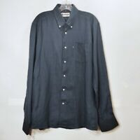 Barbour Navy Blue Button Down Shirt Linen Long Sleeve Collared Mens Sz Small S