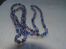 Estate LONG Lightweight Plastic Mottled Round Indigo Cobalt Blue Trapezoid Bead