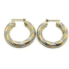 Vintage 9ct Gold Hoop C.1980 Earrings White Gold & Yellow Gold Creole