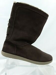 Crocs Adela Wo's 8 Brown Leather Pull-On Fuzzy Lining Boots 15496