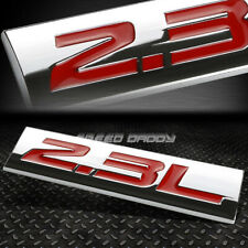 METAL GRILL TRUNK EMBLEM DECAL LOGO TRIM BADGE POLISHED CHROME RED 2.3L 2.3 L