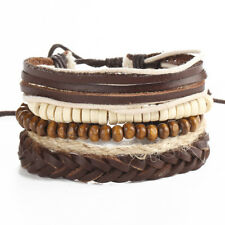 Vintage Wood Beads Waxed Cotton Cord& Leather Bracelets for Women Men Adjustable