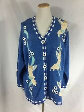 STORYBOOK KNITS 2x New with Tags! Blue Cotton Cardigan Sweater W/Angels Cherubs
