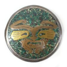 """Vintage TAXCO Mexico 925 Sterling Silver Face Round Brooch Pin (No Clasp) 2"""""""