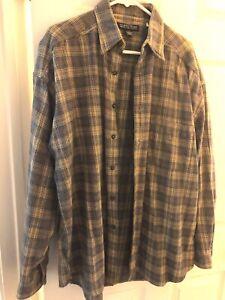 Vintage 80s Structure  Plaid Flannel Shirt Men's Large grey & beige