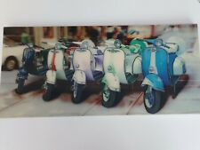 Retro Vintage Vespa Scooters Blue Green Yellow Red Hologram 3D Picture