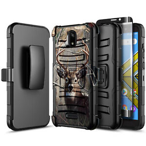 For AT&T Radiant Core Phone Case Holster Belt Clip Cover +Glass Screen Protector