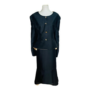 TALLY TAYLOR  Asymmetric Collarless Ruffle Black Polyester Skirt Suit Size 20W