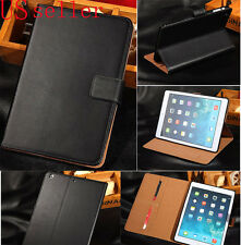 Black Genuine Leather Flip Wallet Stand Case Cover For Apple iPad Mini 2