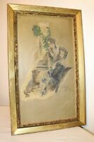 antique original G. Flick 1912  Folk Art lady with dogs oil painting on board
