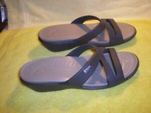 Crocs Patricia ll Wedge Slides Sandals Brown w tan Women's Shoes Size 9 FR/SHP