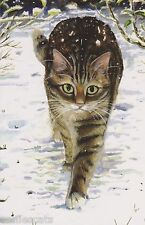 Beautiful Tabby Cat In Snow Xmas Christmas Card From Painting By Celia Pike 024