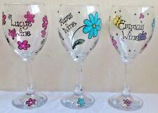 Personalised hand painted Wine glass Any name Teacher Gift Birthday 18 21 30 40