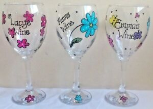 Decorated wine glass personalised hand painted birthday gift