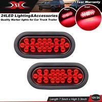 2 Pcs Red 24 LED Oval Flush Mount Stop Brake Lamp 12V Caravan Trailer Rear Light