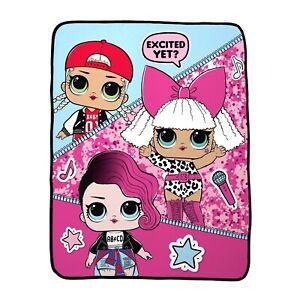 "LOL Surprise Doll Rock Star Silky Soft Throw Blanket MC Swag Diva Rocker 40""x50"""