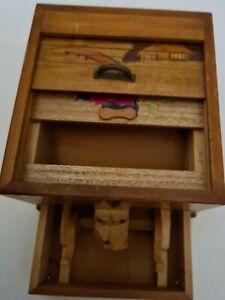 Vintage Japanese Wooden Roll Top Cigarette Dispenser Box Art Deco