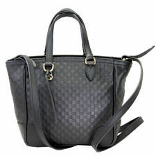 GUCCI MICRO GUCCISSIMA BLACK LEATHER TOTE BAG WITH SHOULDER STRAP 449241